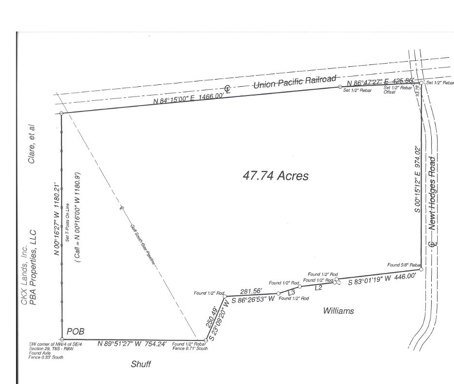 Screenshot of survey of property on Newt Hodges Road in Ragley